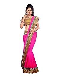 Bano Tradelink Women's Chiffon Saree (Pink) - B00WI6LL52