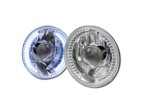 UNIVERSAL 7″ ROUND CHROME WHITE LED HALO RIMS PROJECTOR HEAD LIGHTS LAMPS H4 CA1