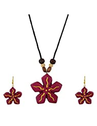 Arts N Crafts Chain & Drops Ethnic Necklace For Women Gaj201 ( Red )