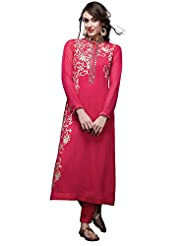 Pink Straight Suit Adorn In Applique Embroidery