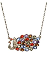 Cinderella Multi Antique Gold Long Chain Peacock Pendant For Women