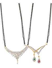 Zeneme Women's Pride American Diamond Gold Plated Mangalsutra Pendant With Chain For Women Set Of 2