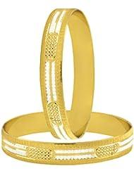 The Jewelbox Wedding Traditional 22k Gold Plated Rhodium Metal Chuda Kada Bangle Set Of 2 For Women - B01IQY0THK