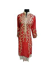Bold Red Georgette Designer Party Wear Semi Stitched Kurti