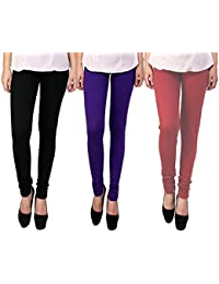 Snoogg Womens Ethnic Chic Inspired Churidar Leggings In Black, Purple And Maroon