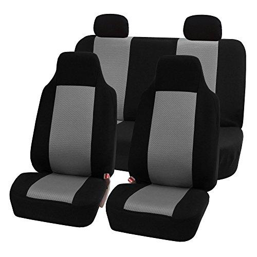 FH-FB102114 Full Set Classic Cloth Car Seat Covers Gray / Black color- Fit Most Car, Truck, Suv, or Van