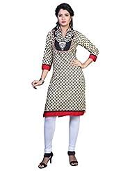 Sareeshut Cream Color Cotton Fabric Readymade Printed Kurti - B00QRWHICI