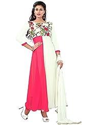 Surat Tex Pink & Cream Color Party Wear Digital Printed Georgette Semi-Stitched Anarkali Suit-I6DL203