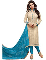 The Fashion World Cream Color Embroidery Worked Dress Material Crafted On Chanderi Cotton Fabric