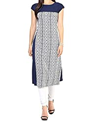 New Arrival Blue Dot Digital Print Crepe Casual Tunic Top Kurti For Women (Medium)