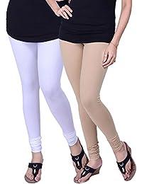 BONITO Women's Cotton Churidar Leggings Combo (Pack Of 2 White & Beige) - Free Size