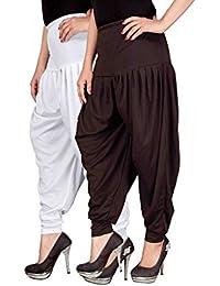 Navyataa Women's Lycra Dhoti Pants For Women Patiyala Dhoti Lycra Salwar Free Size (Pack Of 2) White & Brown