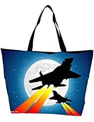 Snoogg Moon And Jet Fighters Waterproof Bag Made Of High Strength Nylon