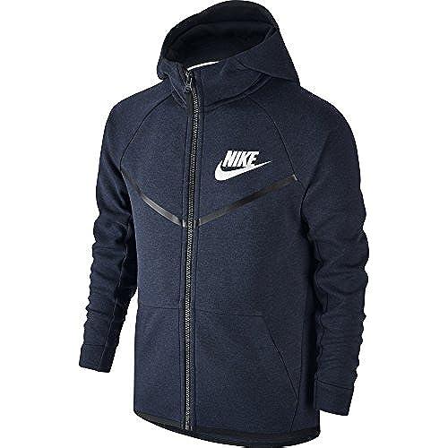 Nike Boy's Sportswear Tech Fleece Windrunner Hoodie Obsidian Heather/Black/White X-Small