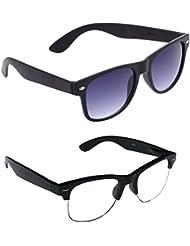 New Stylish UV Protected Combo Pack Of Sunglasses For Women / Girl ( BlackBlackWayfarer-ClearHFWayfarer ) ( CM-SUN...