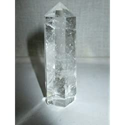 Genuine Quartz Crystal Obelisk Tower Jumbo 6 Facet Approx. Aura Rock Crystal Natural Polished Earth Spirit Balance Point Gemstone Spiritual Chakra Balancing Psychic Gift Therapy Massage Healing Vibration Wand Grounding Nurturing Reiki Energy Positive Wish Intuition Protection Table Display Generator Life Temple Paperweight Prism