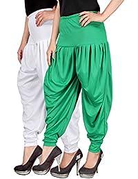 Navyataa Women's Lycra Dhoti Pants For Women Patiyala Dhoti Lycra Salwar Free Size (Pack Of 2) White & Green