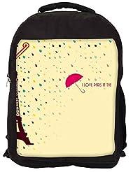 Snoogg Paris In The Rains Backpack Rucksack School Travel Unisex Casual Canvas Bag Bookbag Satchel