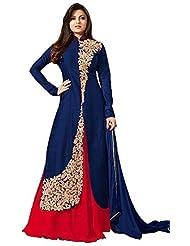 Royal Export Women's Bangalori Blue&Red Anarkali Semi-Stitched Salwar Suit