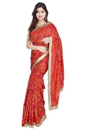 c17a253c7417bd Geroo Bandhani Partywear Art Silk Red Saree Embelished With Golden Border  With Blouse