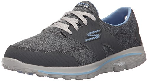 Skechers Performance Women's Go Walk 2 - Backswing Walking Shoe, Gray/Blue, 7 M US