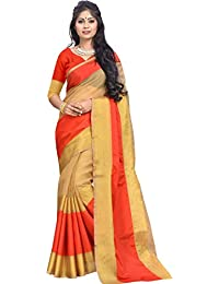V.Clothy Women's Banarasi Cotton Silk Saree With Blouse Piece (Bn_F Sarees New Collection_Fanta)