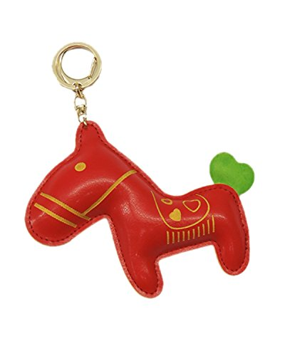 Young & Forever Handmade Pu Leather Cute Animal Racing Trojan Key Chain Bag Charm (Red Color) By CrazeeMania