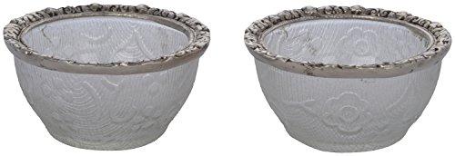 Crafts Creator Glass Decorative Bowl (9 Cm X 9 Cm X 5 Cm, Silver, CC_37, Set Of 2)