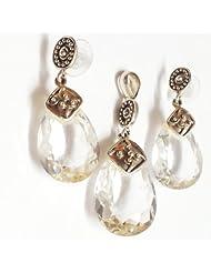 MOAH Pendant & Earrings Set Of Sterling Silver & Crystal Quartz For Women, PE1162