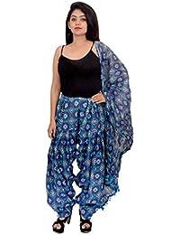 Fashion Store Women Printed Solid Cotton Full Multi-Coloured Patiala Salwar Dupatta Set(Free Size, Blue)