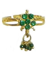 Green Stone Studded Jhalar Adjustable Ring - Stone And Metal - B00K4FWE0U
