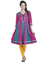 Zovi Women's Cotton Pink And Blue Anarkali Kurti With Lace And Embroidered Neck (10648276701)