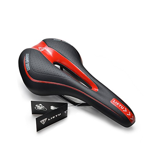 Bike Seat,AGPtek Professional Shock-Resistant Lightweight Comfortable Gel Cushion Pad Bicycle Saddle Cycling Seat with Scale Mark, Perfect for Mountain Bike MTB and Road Bike, 270145mm, Black&Red