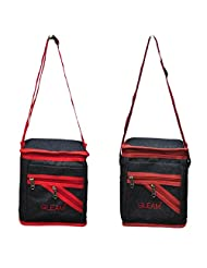 GLEAM Navy Blue With Brown And Navy Blue With Red Lunch Bag Set Of 2