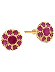 Archi Collection Trendy Floral Golden Plated Ruby CZ Stud Golden Brass Stud Earring For Women