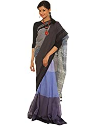 Indo Mood | Exclusive Hand Woven Pure Cotton Grey & Light Blue Kutch Saree