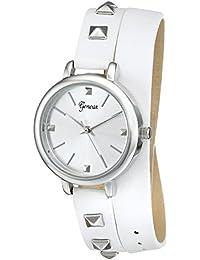 Geneva Women's 2401E-GEN Silver-Tone Watch With White Wraparound Faux-Leather Strap