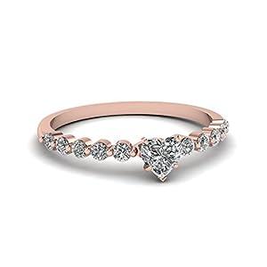 Fascinating Diamonds 1.30 Ct Heart Shaped SI1-H Diamond Sleek String Engagement Ring Pave Set 14K GIA