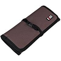 BUBM Portable Universal Wrap Electronics Accessories Travel Organizer-Coffee Large