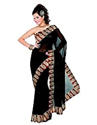 Sehgall Saree Indian Bollywood Designer Ethnic Professional Faux Georgette Sari Saree - Black-Maroon