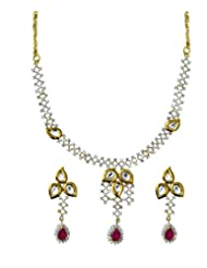 Jewelfin Glossy Pink Stone Studded Necklace Earring Set For Women