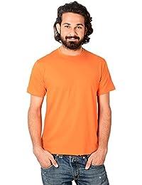 Neevov Men's Round Neck Cotton Orange T-Shirt