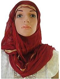 Chiffon Light Maroon, Gold Dupatta Scarf Stole Shawl Wrap Hijab 220 Cm X 88 Cm
