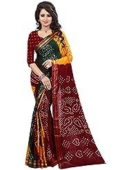 Kuvarba Fashion Multy Red Cotton Bandhani Saree With Blouse Piece