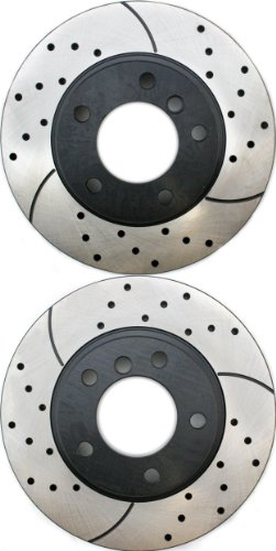 Prime Choice Auto Parts PR44006LR Performance Drilled and Slotted Brake Rotor Pair for Front