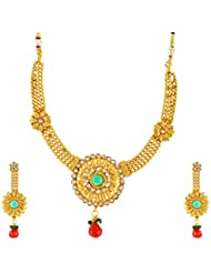 SR Golden Non-Precious Metal Necklace Set For Women (SRKJEWELSNEC1-101467)- Set Of 2