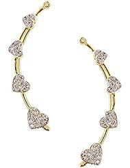 Zeneme Heart Shaped Gold Plated American Diamond Ear Cuff Earring Jewellery For Women / Girls