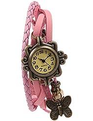 Felizer New Look Vintage Multi Strap Fancy Hanging Butterfly Bracelet Watch For Women & Girls (Pink)