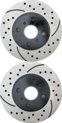 Prime Choice Auto Parts PR41058LR Drilled and Slotted Performance Rotor Pair for Front