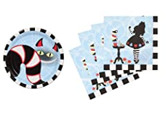 Alice in Wonderland Birthday Party Supplies Set Plates & Napkins Tableware Kit for 16